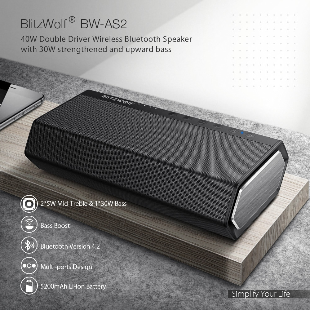 BlitzWolf BW-AS2 40W 5200mAh Double Driver Wireless Bluetooth Speaker