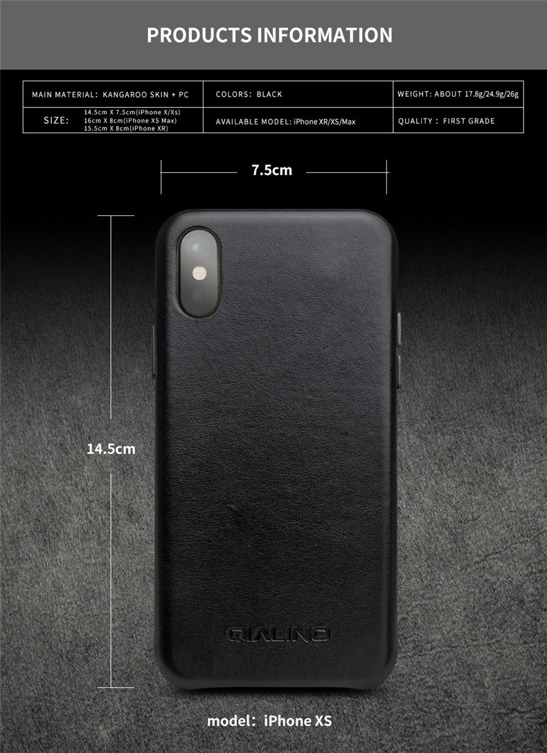 QIALINO Genuine Leather Half-wrapped Phone Case for Apple iPhone X/XS/XR Luxury Ultra Thin Handmade Back Cover for iPhone XS Max