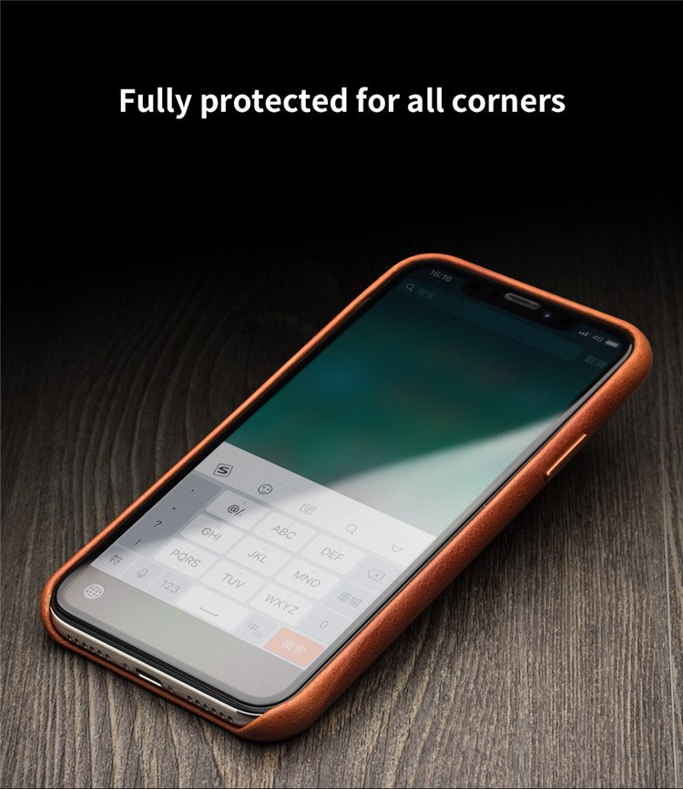 QIALINO Stylish Genuine Leather Case for Apple iphone XR 6.1 inches Ultra Thin Handmade Anti-knock Back Cover for iphone XR