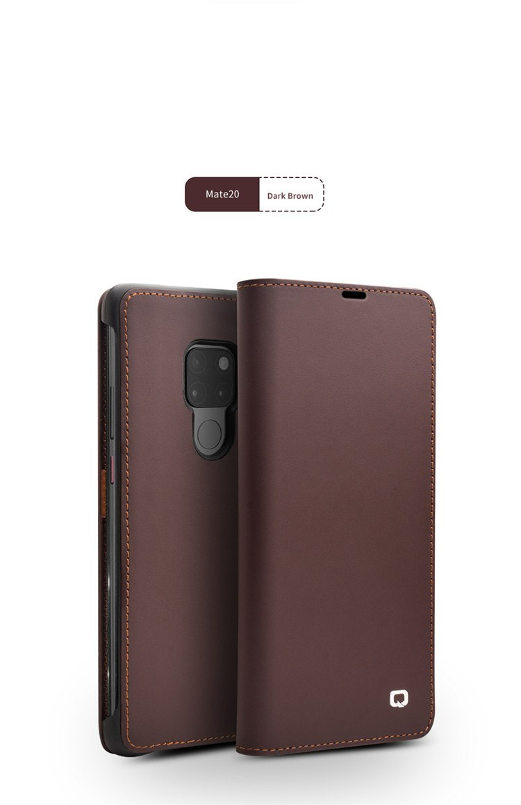 QIALINO Luxury Genuine Leather Phone Cover for Huawei Mate 20 Stylish Handmade Flip Case with Card Slots for Mate 20 Pro