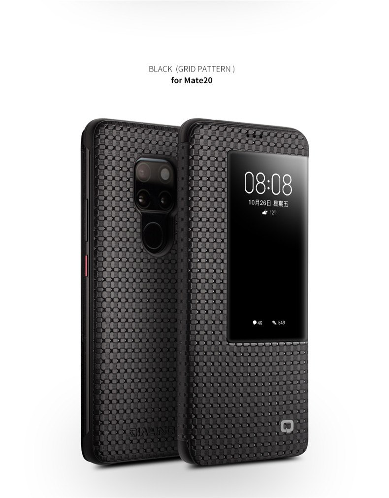 QIALINO Fashion Genuine Leather Flip Case for Huawei Mate 20 Pro Stylish Business Ultra Slim Cover with Smart View for Mate 20