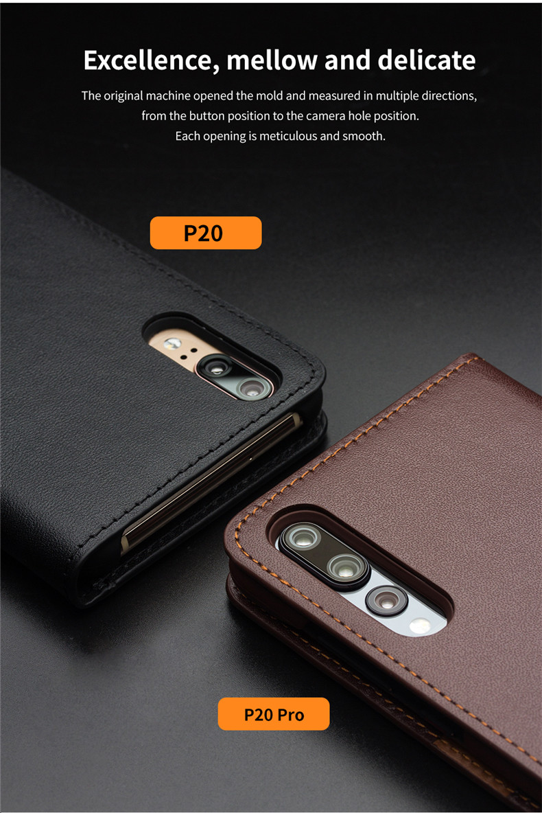 QIALINO Business Style Card Slot Phone Cover for Huawei Ascend P20 Luxury Genuine Leather Wallet Flip Case for Huawei P20 Pro