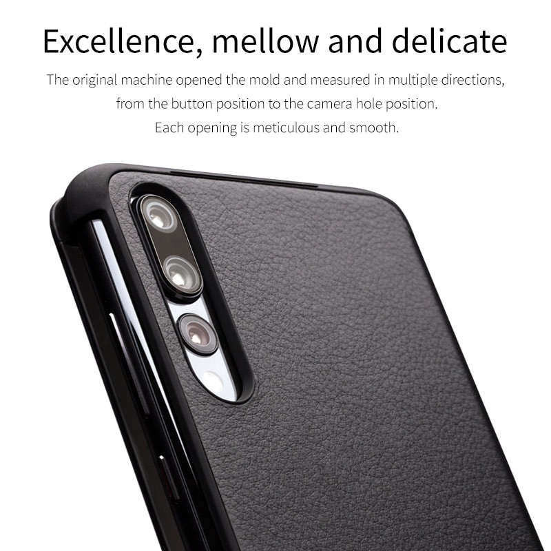 QIALINO Genuine Leather Window Flip Case for Huawei Ascend P20 Smart View Sleep Wake Up Function Phone Cover for Huawei P20 Pro