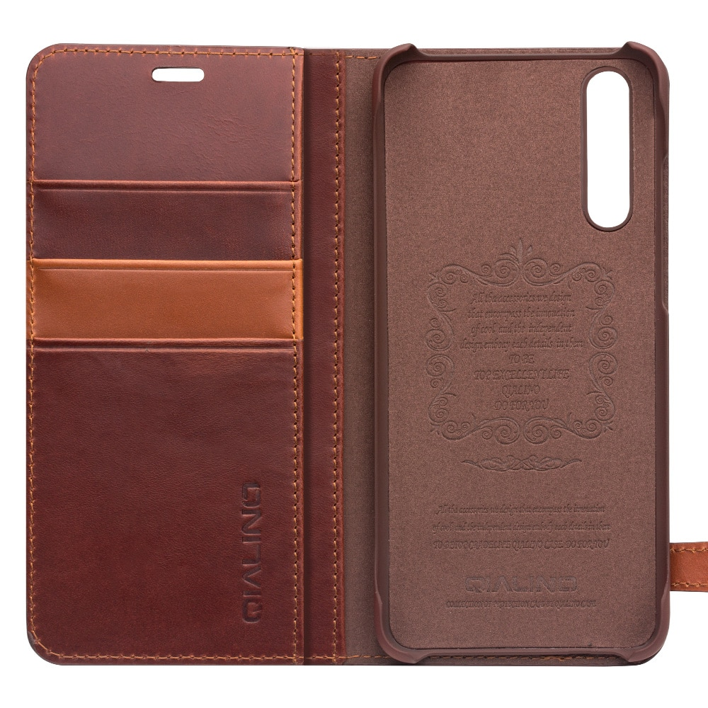 QIALINO Fashion Button Bag CardSlot Phone Cover for Huawei Ascend P20 Luxury Genuine Leather Wallet Flip Case for Huawei P20 Pro