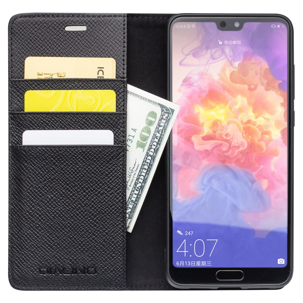 QIALINO Genuine Leather Back Phone Cover for Huawei P20 Pure Handmade Card Slots and Stent Function Wallet Flip Case for P20 Pro