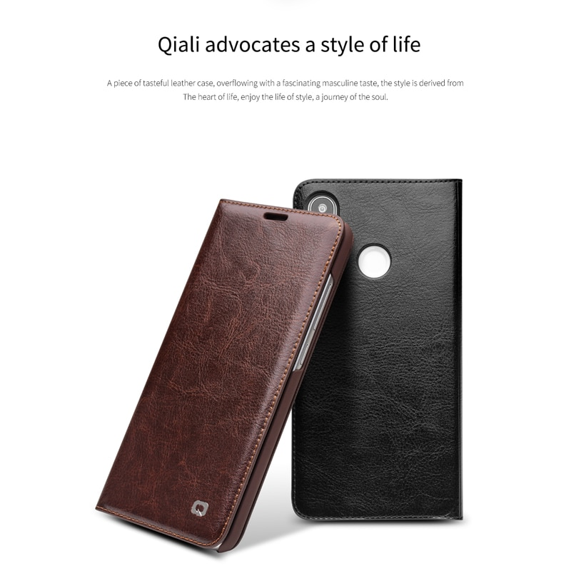 QIALINO Genuine Leather Ultra Slim Phone Cover for Xiaomi MI 8 Luxury Card Slot Pure Handmade Flip Case for Xiaomi 8 6.21 inches