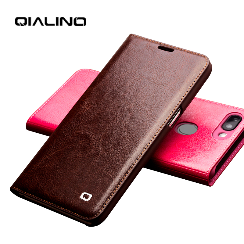 QIALINO Genuine Leather Luxury Phone Cover for OPPO R15 Handmade Full Protection Ultra Slim Stylish Card Slot Flip Case for R15
