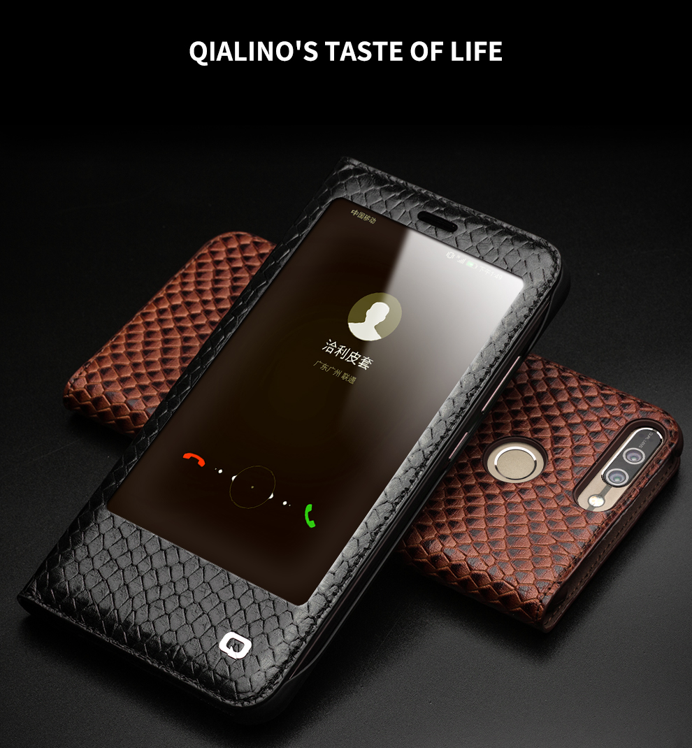 QIALINO Case for Huawei honor v9 Luxury Genuine Leather Ultrathin Flip Cover for Huawei Honor V9 Sleep Wake Function Manual Bag