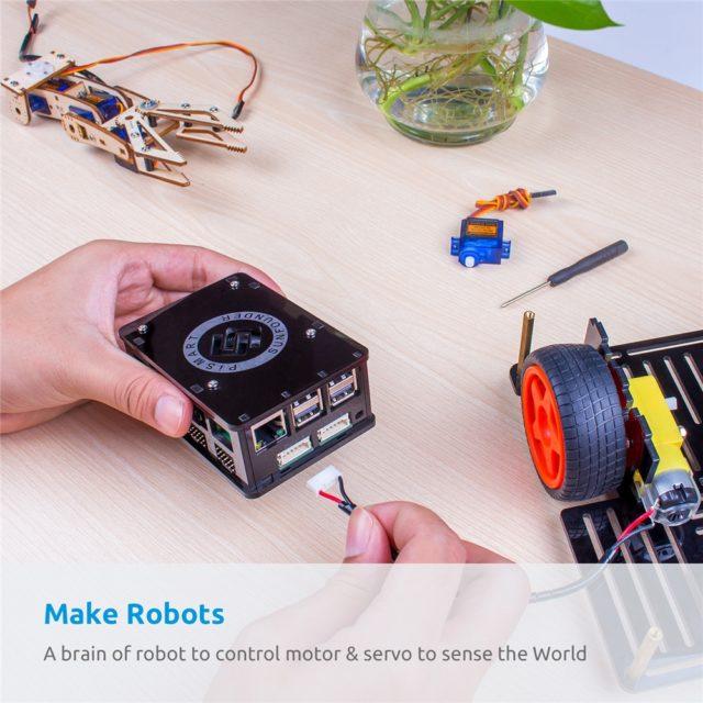 SunFounder Raspberry Pi 3 Robot Kit Pismart Box Speech Recognition Control Driving 8 Servos 2 Motors with Raspberry Pi 3