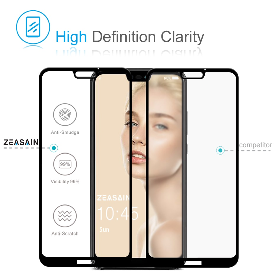 ZEASAIN Full Cover Tempered Glass for Huawei P20 Lite