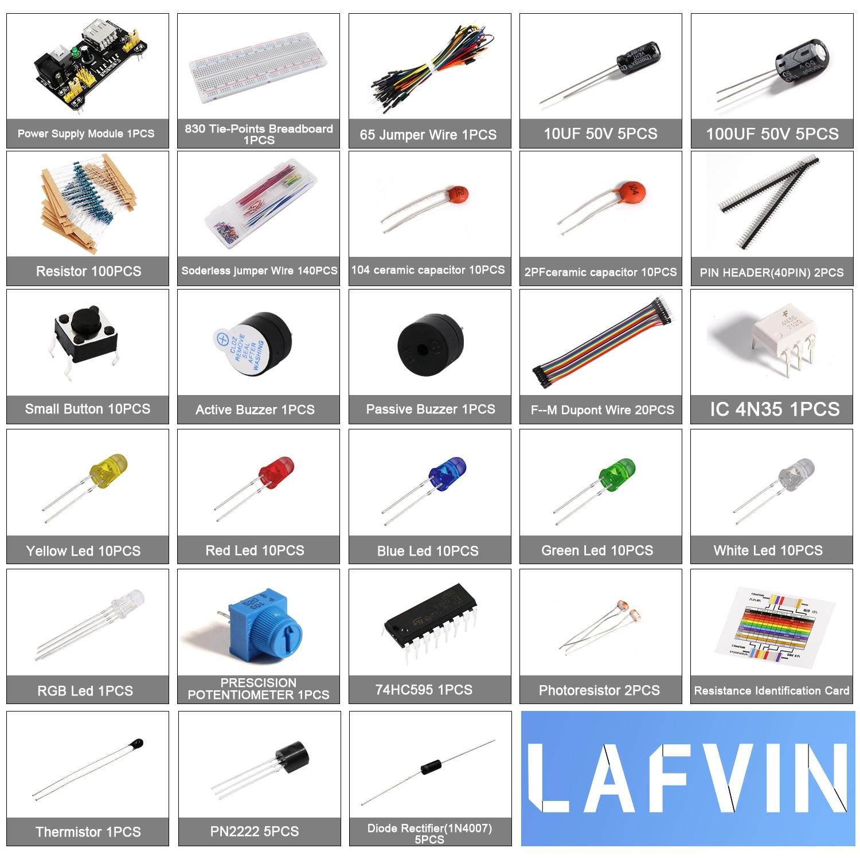 LAFVIN Electronics Fun Kit 830 Breadboard for Arduino