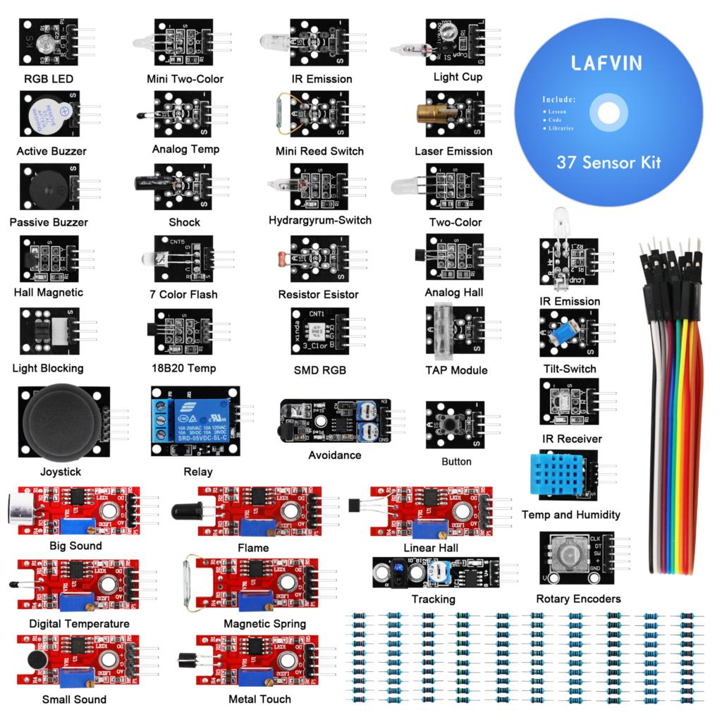 LAFVIN 37 Sensor Module Kit for Arduino UNO R3, MEGA 2560, NANO with Tutorial