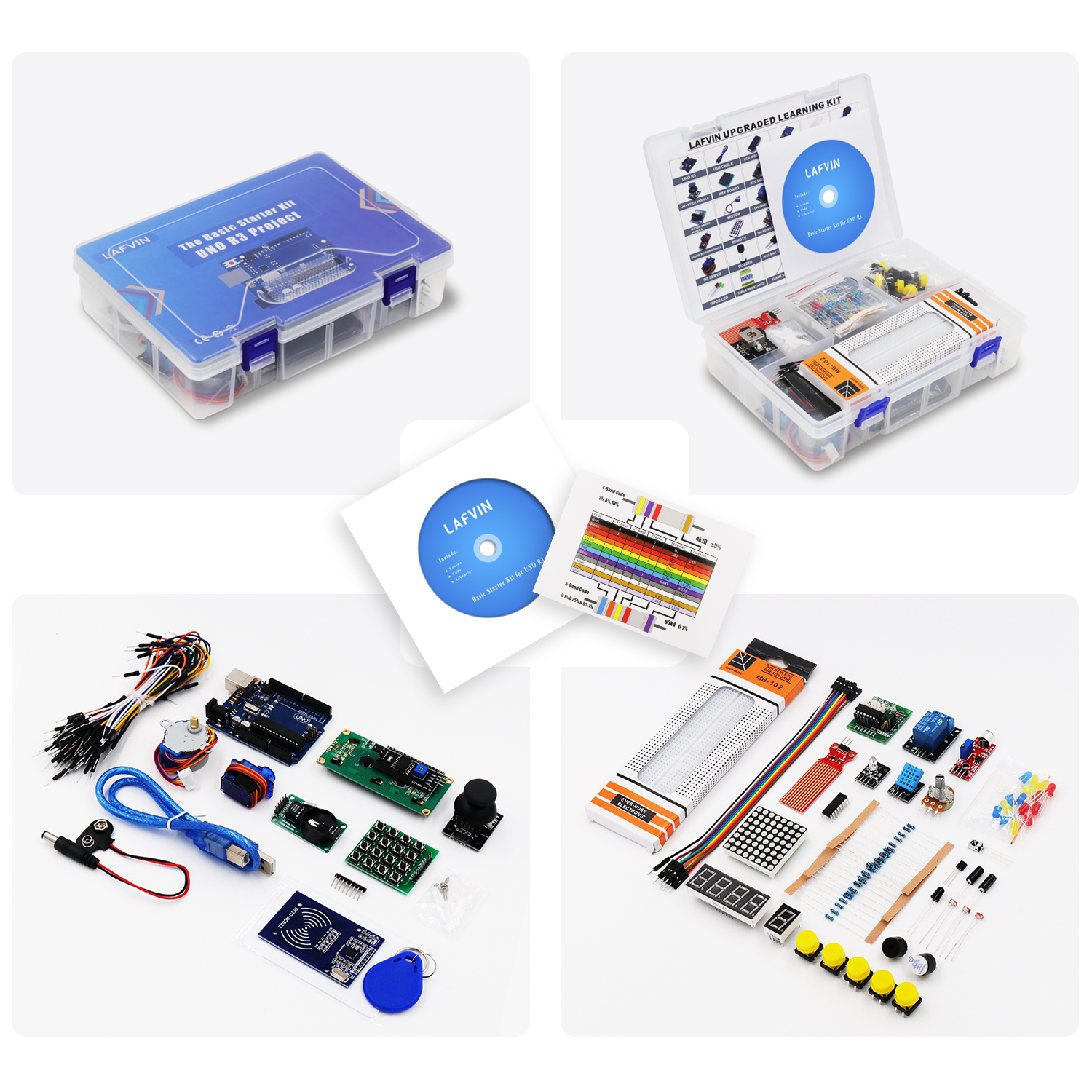 Student Project: LAFVIN 10set/lot Upgarde Learning Kit include UNO R3 Board, LCD1602 IIC with Tutorial for Arduino