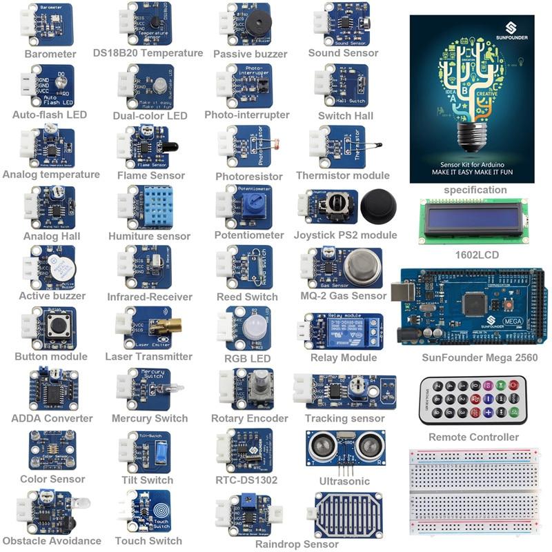 SunFounder 37 Modules Sensor Kit V2.0 for Arduino Mega 2560