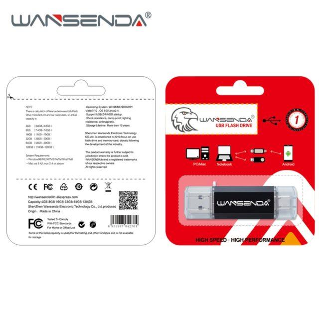 WANSENDA OTG USB Flash Drive 3.0 Stick Type-C PenDrive (128GB, 64GB, 32GB, 16GB)