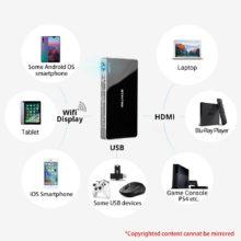 Tragbarer Wifi Mini HD LED-Projektor (Full HD 1080P, 4K HDMI)