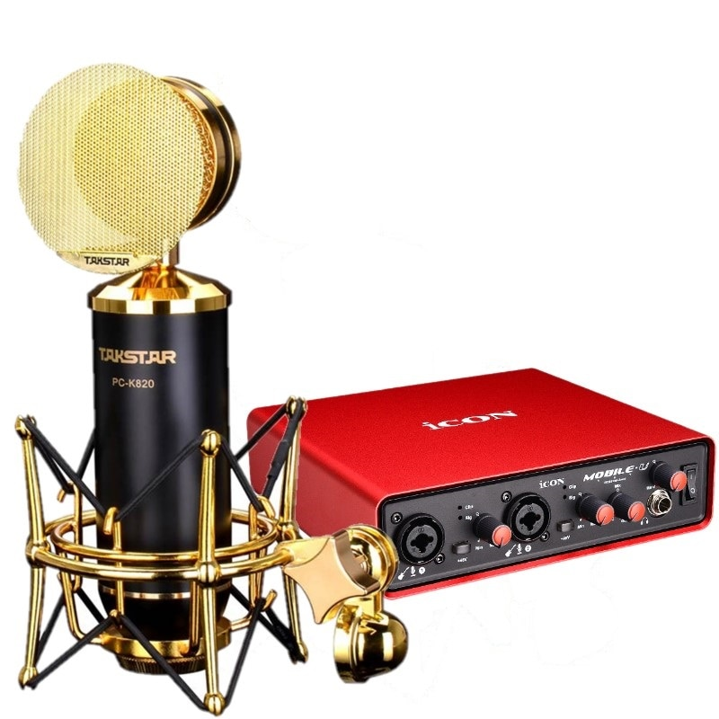 Takstar PC-K820 High Quality Recording Microphone with ICON Mobile U Sound Card for Internet Karaoke