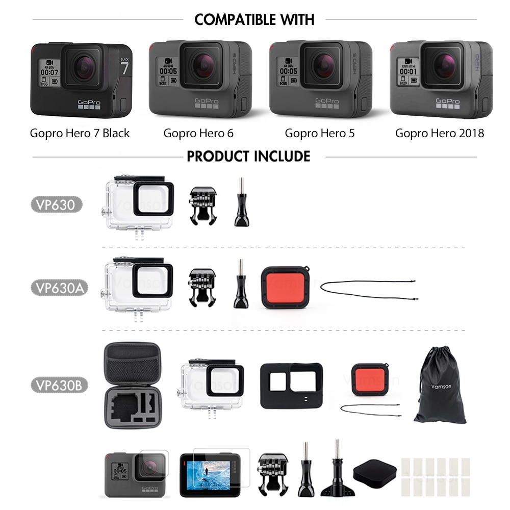 Gopro Hero 7 6 5 Accessories - Waterproof protection Housing for diving up to 45m