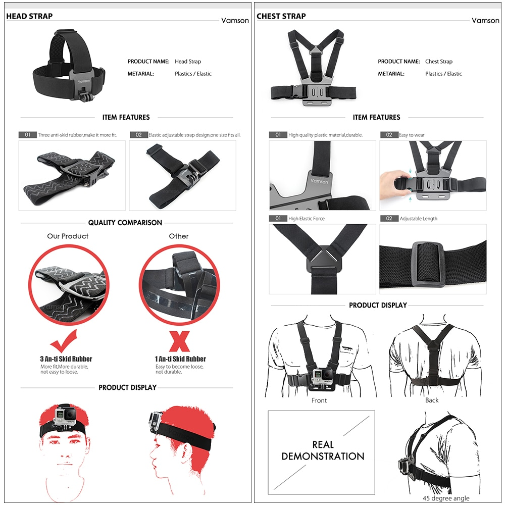 Vamson Sports cameras accessory set for GoPro, SJCAM, Eken, Xiaomo yi