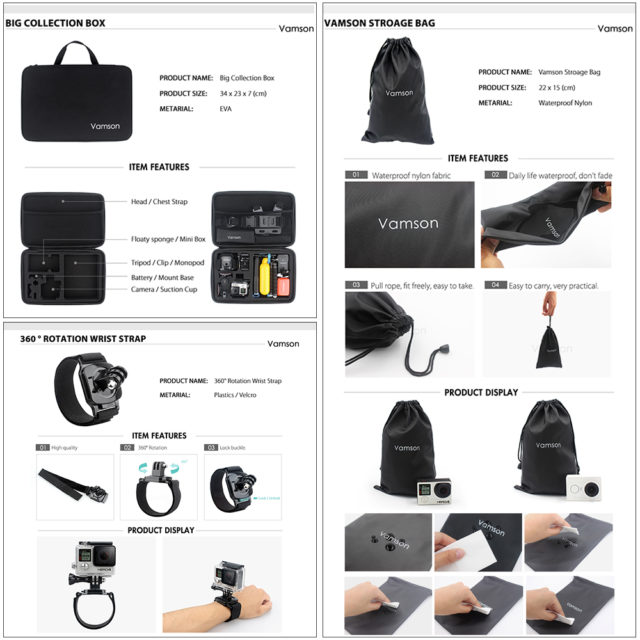 Vamson VS104 - Accessories Kit Monopod for GoPro Hero 7 6 5 4 3, Xiaomi yi, SJCAM, EKEN H9R Mijia action camera