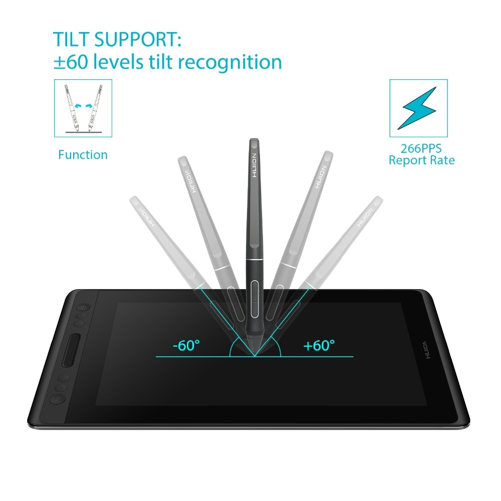 HUION KAMVAS Pro 12 GT-116 Pen Display Drawing Tablet, Battery-Free Monitor with Tilt Function AG Glass Touch Bar