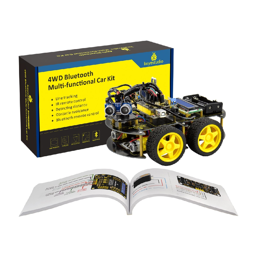 Keyestudio 4WD Bluetooth Multi-functional DIY Smart Car For Arduino Robot