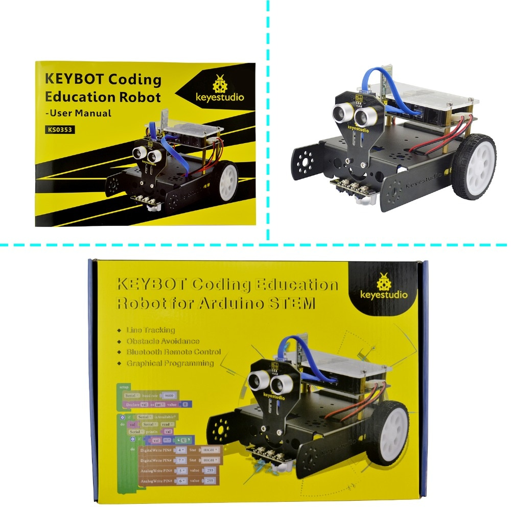 Keyestudio KEYBOT Programmable Education Robot Car Kit for Arduino Graphical Programming