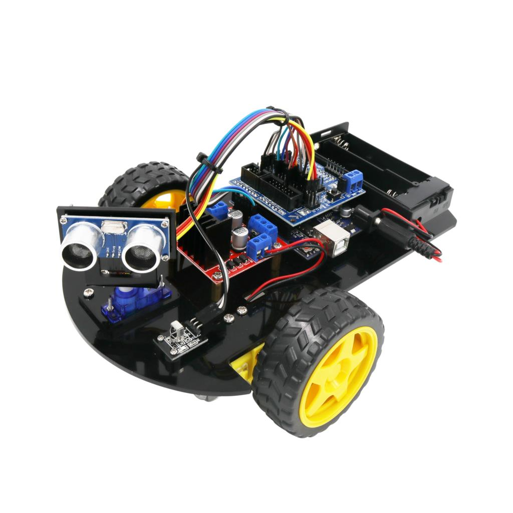 LAFVIN Smart Robot Car 2WD Chassis Kit with Ultrasonic Module, Remote for Arduino