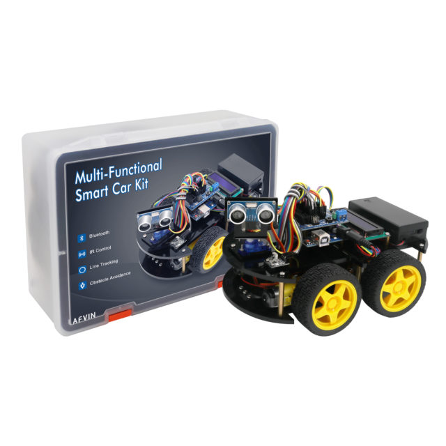 LAFVIN Multi-Functional Smart Robot Car Kit with UNO R3, Ultrasonic Sensor, Bluetooth Module for Arduino