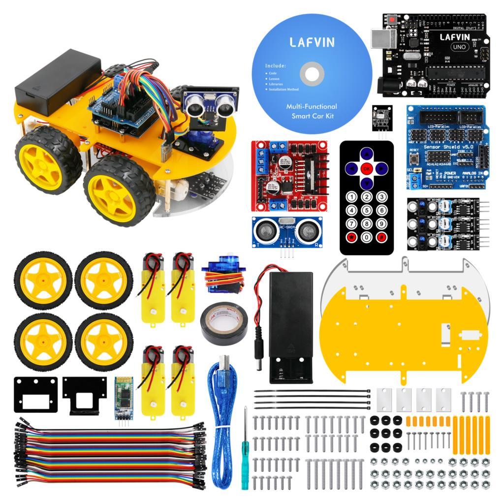 LAFVIN Multi-Function 4WD Robot Car Kits, Ultrasonic Module for Arduino