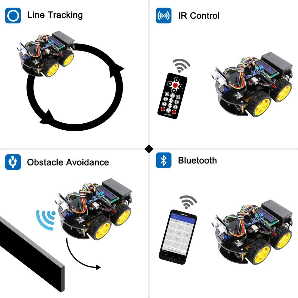 LAFVIN Smart Robot Car Kit with UNO R3, Ultrasonic Sensor, Bluetooth Module for Arduino