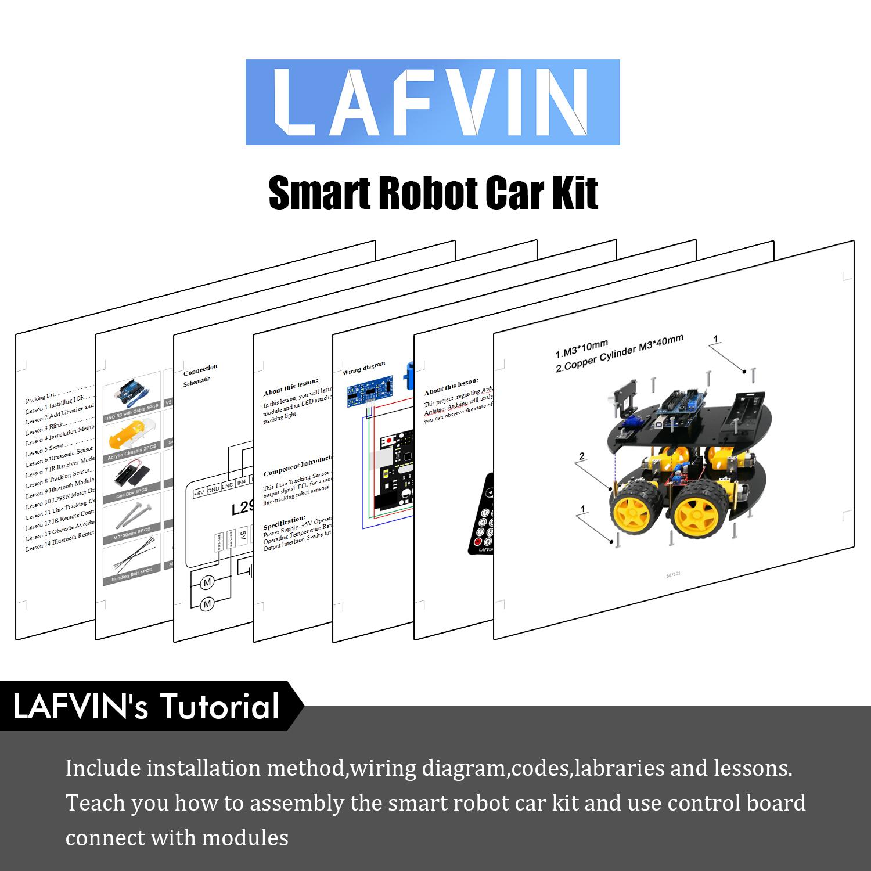 LAFVIN Multi-Function 4WD Robot Car Kits Ultrasonic Module UNO R3 for Arduino