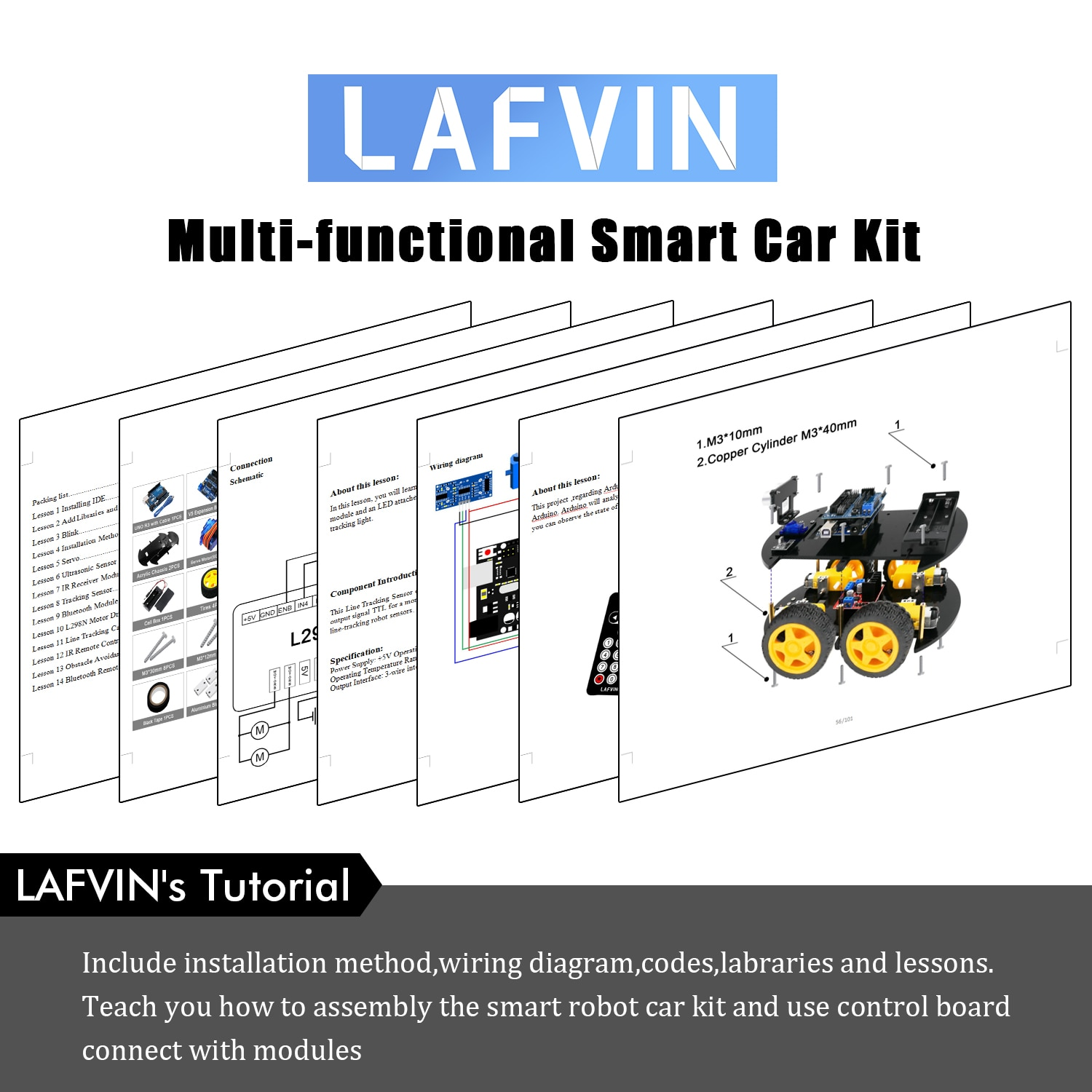 LAFVIN Smart Robot Car Kit with UNO R3, Ultrasonic Sensor, Bluetooth Module for Arduino
