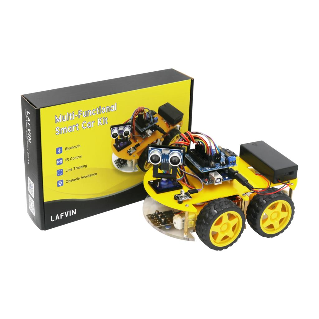 10 Stück/Packung: LAFVIN Smart Robot Car Kit include UNO R3,Ultrasonic Sensor, Bluetooth Module for Arduino with Tutorial