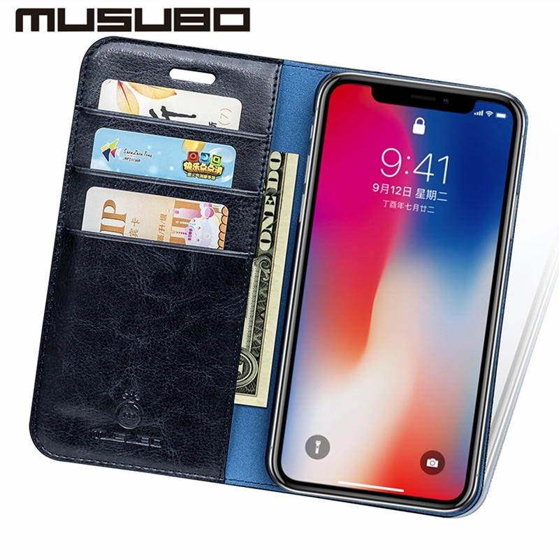 Musubo Luxury Flip Leather Cases for iPhone XS Max, XR und X