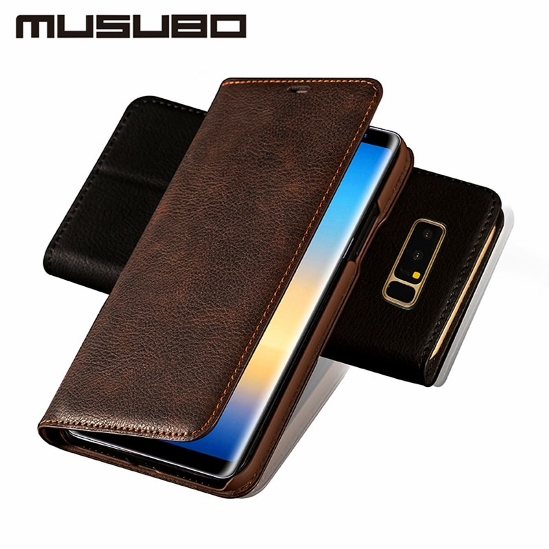 Musubo Ultra Slim Flip Case for Samsung Galaxy S9 Plus Genuine Leather mit Card Magnet