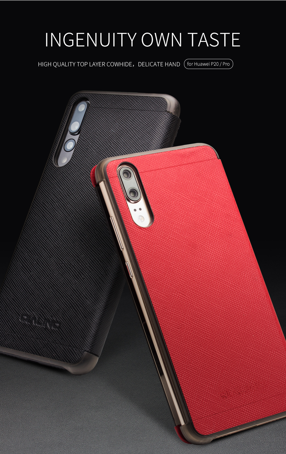 QIALINO Genuine Leather Flip Case for Huawei P20