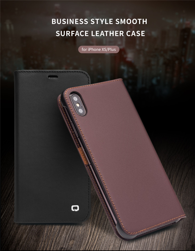 QIALINO Genuine Leather Phone Cover for iPhone XS/XR/XS Max
