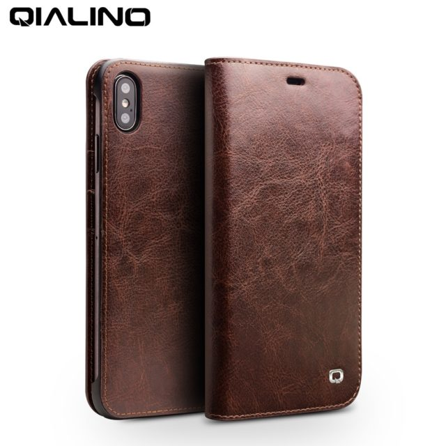 QIALINO Genuine Leather Ultra Slim Phone Case for iPhone XS/ XR/ XS Max