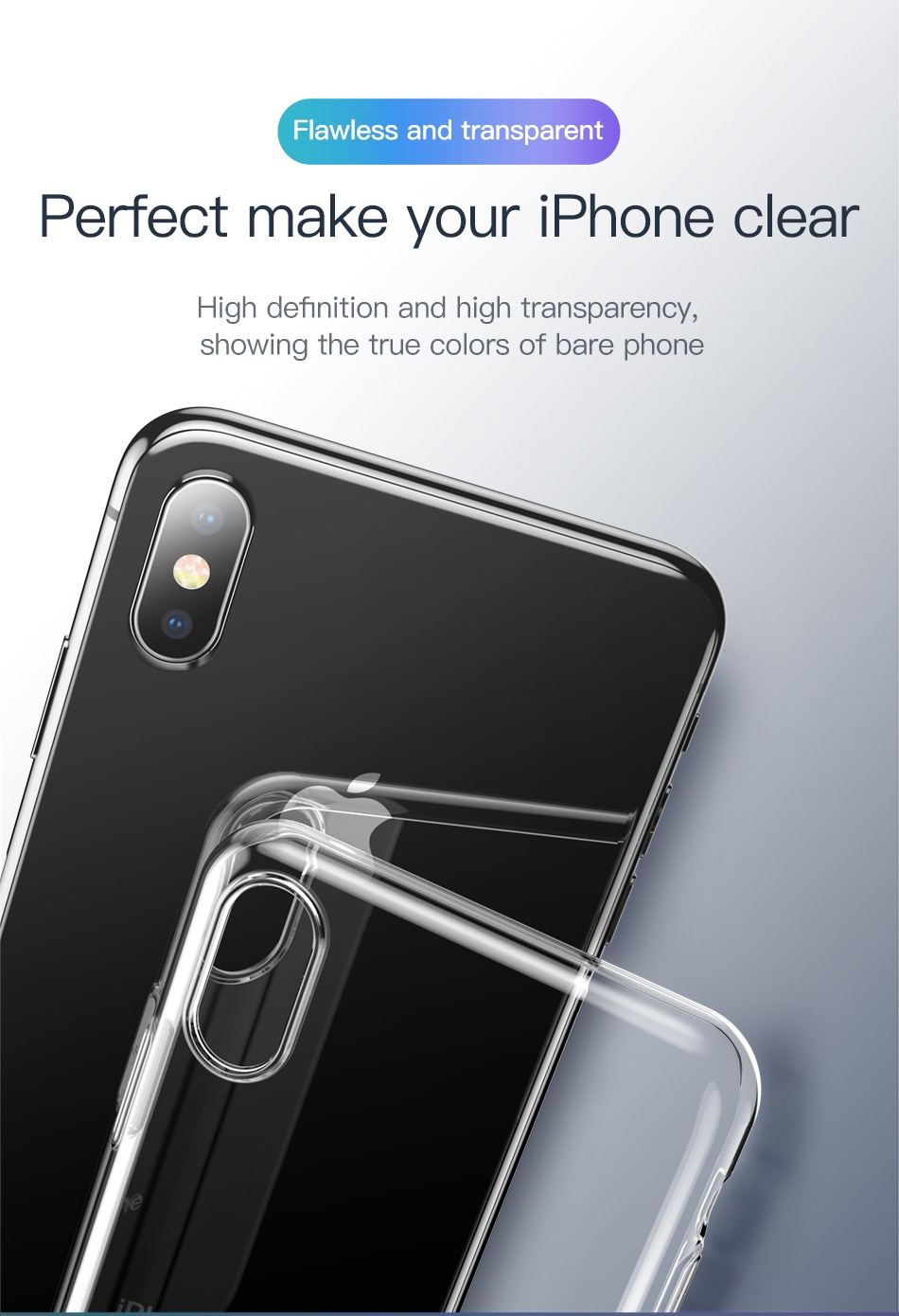 Baseus Ultra Thin Transparent Case For iPhone Xs Xs Max XR 2018 Luxury Soft Silicone Back Cover For iPhone Xs Xs Max Case